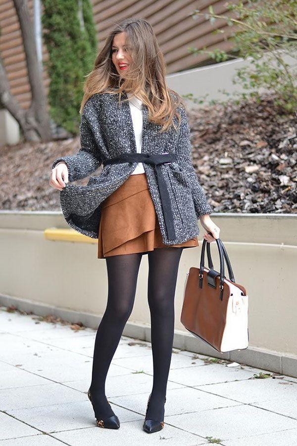 короткая замшевая юбка, колготки, серый вязанный кардиган