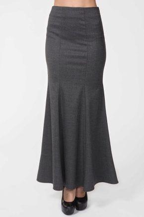 длинная серая юбка